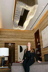 Custom lobby chandeliers at One West End. **NO NEW YORK DAILY NEWS, NO NEW YORK TIMES, NO NEWSDAY**. 13 Jul 2018 Pictured: One West End developer, Samantha Sax. Photo credit: Annie Wermiel/NY Post / MEGA TheMegaAgency.com +1 888 505 6342