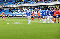 Treningskamp fotball 2014: Molde - Aalesund. Aalesunds Michael Barrantes Rojas (t.v.) med et mislykket skudd i treningskampen mellom Molde og Aalesund på Aker stadion.