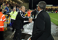 Photo: Paul Thomas.<br /> Chester City v Nottingham Forest. The FA Cup.<br /> 03/12/2005.<br /> <br /> Forest manager Gary Megson congratulates Chester manager Kieth Curle.