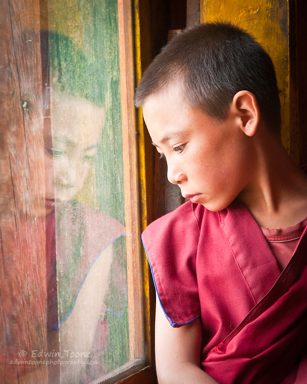 A young monk looks out of the window of the Thiksey Gompa.
