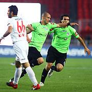 Konyaspor's Erdal KILICASLAN (C) celebrate his goal during their Play Off Second leg match at AliSamiYen Stadium in Istanbul Turkey on Thursday, 20 May 2010. Photo by TURKPIX