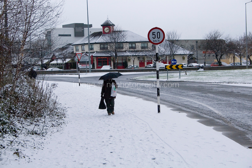 Snow covered path in suburban in Killiney Dublin Ireland