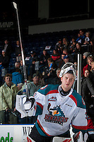 KELOWNA, CANADA - FEBRUARY 10: Brodan Salmond #31 of the Kelowna Rockets salutes the crowd and accepts the third star of the game against the Vancouver Giants on February 10, 2017 at Prospera Place in Kelowna, British Columbia, Canada.  (Photo by Marissa Baecker/Shoot the Breeze)  *** Local Caption ***