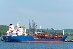 LPG tanker berthed at Braefoot Terminal in Fife, Scotland. Terminal is used for export of  liquefied petroleum gas,