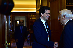October 4, 2018 - Athens, Attiki, Greece - Handshake of Constantinos Daskalakis, professor of MIT, (left) with President of Hellenic Republic Prokopis Pavlopoulos (right) during their meeting. (Credit Image: © Dimitrios Karvountzis/Pacific Press via ZUMA Wire)
