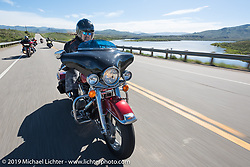 Jim Wardzinski, postmaster of Crested Butte, CO on his 1999 Road King riding from Steamboat Springs back to Denver after the Rocky Mountain Regional HOG Rally, Colorado, USA. Sunday June 11, 2017. Photography ©2017 Michael Lichter.
