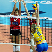 Vakifbank GS TT's Maja POLJAK (L) during their Women's Volleyball CEV Champions League semi final match at Burhan Felek Arena in Istanbul, Turkey on 20 March 2011. Photo by TURKPIX
