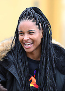 Recording artist Ciara smiles after NFC practice at ESPN Wide World of Sports. Ciara is the wife of Seattle Seahawks quarterback Russell Wilson (not pictured), Wednesday, Jan 22, 2020, in Kississimee, Fla. (Steve Jacobson/Image of Sport)