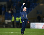 Neil Warnock, the Cardiff city manager celebrates after the game.EFL Skybet championship match, Cardiff city v Barnsley at the Cardiff city stadium in Cardiff, South Wales on Tuesday 6th March 2018.<br /> pic by Andrew Orchard, Andrew Orchard sports photography.