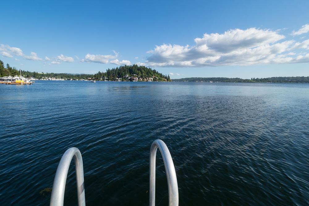 United States, Washington, Bellevue. Swimming dock on Lake Washington.