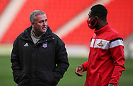 Ipswich Town Manager Paul Lambert  chats with a Doncaster Player before the EFL Sky Bet League 1 match between Doncaster Rovers and Ipswich Town at the Keepmoat Stadium, Doncaster, England on 20 October 2020.