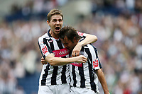 Photo: Rich Eaton.<br /> <br /> West Bromwich Albion v Barnsley. Coca Cola Championship. 01/09/2007. West Bromwich Albion's Filipe Teixeira (r) is congratulated by Zoltan Gera after he scores the first goal of the game.