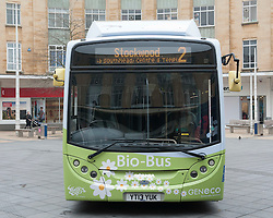© Licensed to London News Pictures.  17/03/2015. Bristol, UK.  The Number 2 powered by poo Bio-Bus, which is powered by biomethane gas from human and food waste, on show in Bristol's Broadmead shopping centre before starting next week on the Number 2 route from Cribbs Causeway to Stockwood. It emits 30% less CO2 than a standard diesel bus and produces virtually odour free emissions. Photo credit : Simon Chapman/LNP