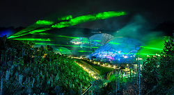Review of the Year 2017: November: Lasers over the biomes at the Eden Project, in Boldeva, Cornwall, where a light and sound show featuring lasers by renowned artist Chris Levine are the highlight of the Eden Project's Christmas celebrations.