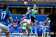 Brighton & Hove Albion defender Danielle Carter (18) heads the ball during the FA Women's Super League match between Birmingham City Women and Brighton and Hove Albion Women at St Andrews, Birmingham United Kingdom on 12 September 2021.