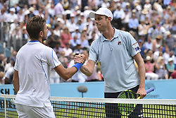 June 20, 2018 - London, United Kingdom - Sam Querrey the U.S. and Stan Wawrinka of Switzerland in the second round singles match on day three of Fever Tree Championships at Queen's Club, London on June 20, 2018. (Credit Image: © Alberto Pezzali/NurPhoto via ZUMA Press)