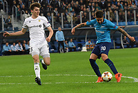 Russia. St. Petersburg. October 19, 2017. Rosenborg players Jacob Rasmussen and Zenit Emiliano Rigoni (left to right) during the UEFA Europa League group stage match between Zenit (Russia, St. Petersburg) and Rosenborg