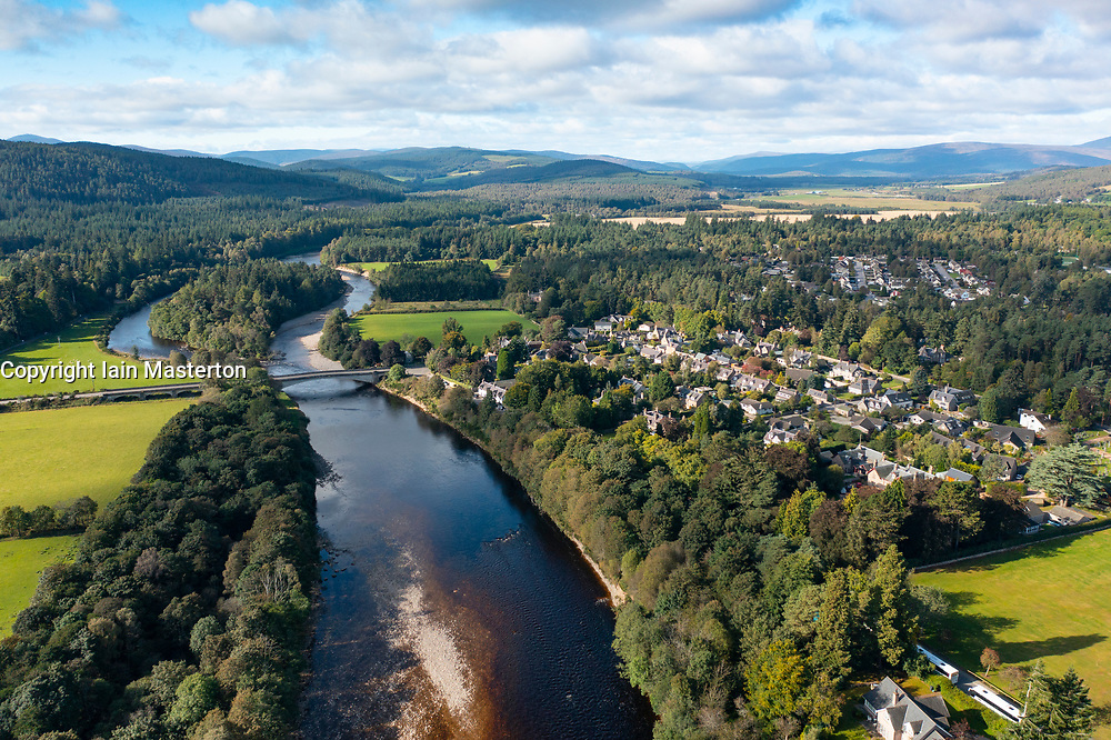 Aerial view from drone of village of Aboyne on the River Dee in Deeside, Aberdeenshire, Scotland, UK