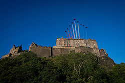 Pictured: The RAF Red Arrows perform a fly past over Edinburgh Castle on the 24th August as part of a promotion for the2021 Edinburgh Military Tattoo which has had to be cancelled in 2020 due to the ongoing Covid19 pandemic   Andrew West/ EEm