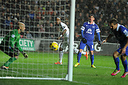 Swansea city's Dwight Tiendalli ©  shoots and scores his sides 1st goal to make it 1-1 , the shot was deflected off Everton's Bryan Oviedo (8).  Barclays Premier league, Swansea city v Everton at the Liberty Stadium in Swansea,  South Wales on Sunday 22nd Dec 2013. pic by Andrew Orchard, Andrew Orchard sports photography.