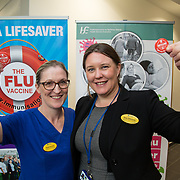 04.10. 2017.                   <br /> HEALTHCARE staff across the MidWest are taking part in a major vaccination programme to protect patients from flu this winter.<br />  <br /> UL Hospitals Group and HSE Mid West Community Healthcare this Wednesday joined forces to launch a flu campaign aimed at vaccinating thousands of healthcare workers in community, primary, mental health and acute hospital settings across Limerick, Clare and Tipperary. A national target of 40% uptake rate has been set by the HSE.<br /> <br /> Pictured at the launch were, Sarah Kennedy, Infection Control and Eimear O'Donovan, ADON.<br />  <br /> The HSE will next Monday, October 9th, launch its national flu campaign, with at-risk groups – including the over-65s; people with long-term chronic illnesses; pregnant women and residents of nursing homes and other longstay facilities – encouraged to get the vaccine from their family doctor or pharmacist. Picture: Alan Place