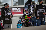 #100 (PAJON Mariana) COL at the 2018 UCI BMX Superscross World Cup in Saint-Quentin-En-Yvelines, France.