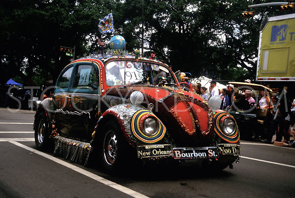 Stock photo of a Volkswagen bug decorated with New Orleans flare