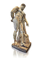 End of 2nd century beginning of 3rd century AD Roman marble sculpture of Hercules at rest copied from the second half of the 4th century BC Hellanistic Greek original,  inv 6001, Farnese Collection, Museum of Archaeology, Italy, white background ...<br /> <br /> If you prefer to buy from our ALAMY STOCK LIBRARY page at https://www.alamy.com/portfolio/paul-williams-funkystock/greco-roman-sculptures.html . Type -    Naples    - into LOWER SEARCH WITHIN GALLERY box - Refine search by adding a subject, place, background colour, etc.<br /> <br /> Visit our ROMAN WORLD PHOTO COLLECTIONS for more photos to download or buy as wall art prints https://funkystock.photoshelter.com/gallery-collection/The-Romans-Art-Artefacts-Antiquities-Historic-Sites-Pictures-Images/C0000r2uLJJo9_s0