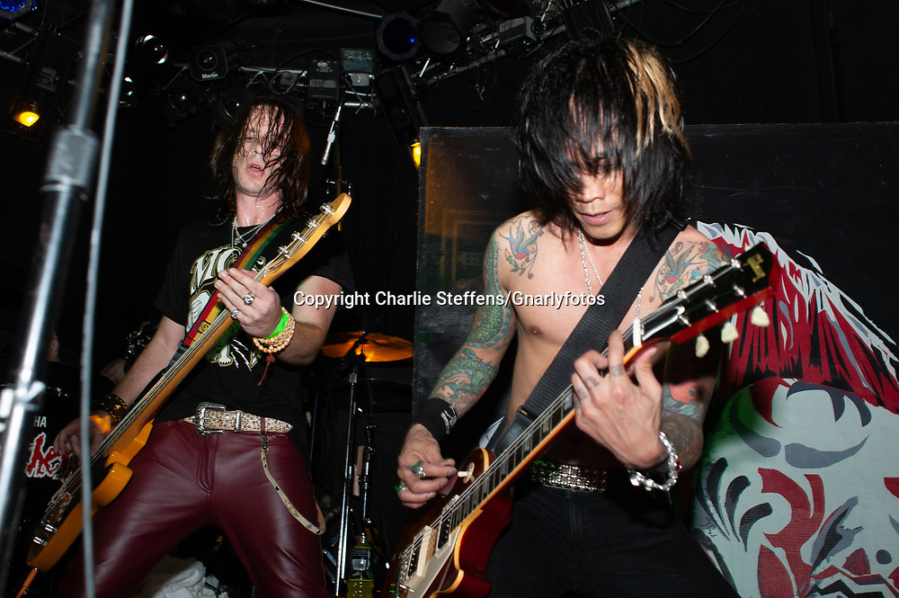 JIMMY ASHHURST (L) and STEVIE D. of Buckcherry at the Whisky a Go Go in West Hollywood, California