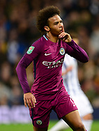 Leroy Sane of Manchester City celebrates after he scores his teams 2nd goal to make it 1-2.  .Carabao Cup 3rd round match, West Bromwich Albion v Manchester City at the Hawthorns stadium in West Bromwich, Midlands on Wednesday 20th September 2017. pic by Bradley Collyer, Andrew Orchard sports photography.