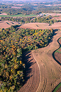 Sunrise aerial image over Crawford County, Wisconsin on a beautiful morning.