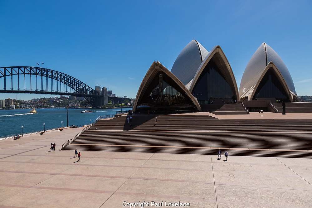 Opera House, Circular Quay, in Sydney's Central Business District is very empty as a result of the Coronavirus Outbreak, with very few tourists around, Sydney, Australia.