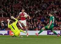 Football - 2018 / 2019 UEFA Europa League - Group E: Arsenal vs. Vorskla Poltava<br /> <br /> Stephan Lichtsteiner (Arsenal FC) lifts the ball over Bohdan Shust (FC Vorskla Poltava) to provide the assist for Mesut Ozil (Arsenal FC) to score at The Emirates.<br /> <br /> COLORSPORT/DANIEL BEARHAM