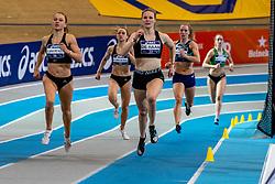 Melissa de Haan, Anne van de Wiel in action on the 1000 meters during the Dutch Athletics Championships on 14 February 2021 in Apeldoorn