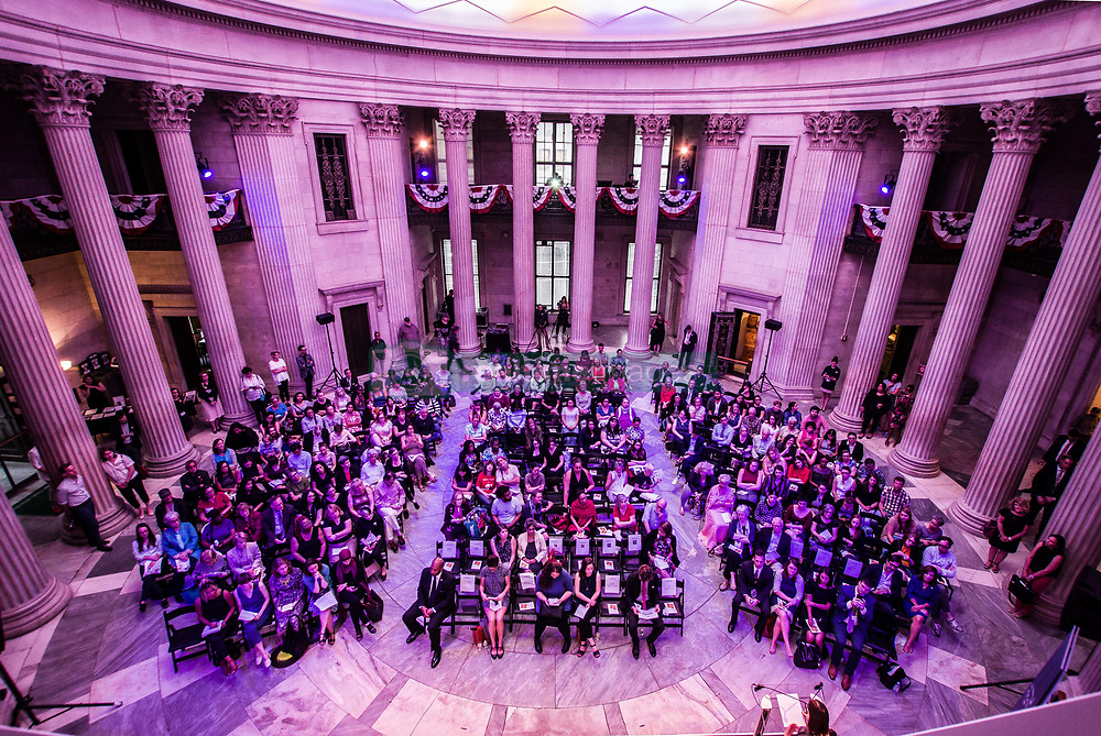 """July 26, 2017 - New York, new York, United States - Led by the endowment foundation Humanities New York, a celebration of the centennial of Women's Suffrage was organized at Federal Hall in NYC under the title of """"Beyond the Ballot: From Suffrage to the Women's March"""".  In the course of the event, a roundtable involving women from journalism, history, and community organizing discussed such themes as the Suffrage movement, the 19th Amendment, and what's next for women.  The event was moderated by Jia Tolentino of the New Yorker..Featured guests include Jessa Crispin, author of Why I Am Not a Feminist; activist Linda Sarsour, one of four co-chairs of the Women's March; Kim Phillips-Fein, Associate Professor of American History at New York University; and Sarah Seidman, historian and curator at the Museum of the City of New York. Topics included the wage disparity between men and women and women of color.  Furthermore, six months after the Women's March issues were discussed regarded the successes and failures of the event. (Credit Image: © Sachelle Babbar via ZUMA Wire)"""