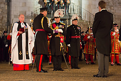 © Licensed to London News Pictures. 05/10/2016. LONDON, UK.  A ceremony to formally install General Sir Nicholas Houghton, the ex-Chief of the Defence Staff, as the 160th Constable of the Tower of London is held at the Tower of London. The Constable is the most senior appointment at the Tower, which is a royal palace and fortress. General Sir Nicholas will be the Queen's representative within the Tower of London and its formal custodian and he will succeed the current incumbent General the Lord Richard Dannatt GCB CBE MC DL, whose appointment expires on 31 July 2016..  Photo credit: Vickie Flores/LNP