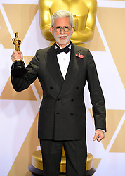 Frank Stiefel with this Best Documentary Short Subject Oscar for Heaven is a Traffic Jam on the 405 in the press room at the 90th Academy Awards held at the Dolby Theatre in Hollywood, Los Angeles, USA.PRESS ASSOCIATION Photo. Picture date: Sunday March 4, 2018. See PA Story SHOWBIZ Oscars. Photo credit should read: Ian West/PA Wire