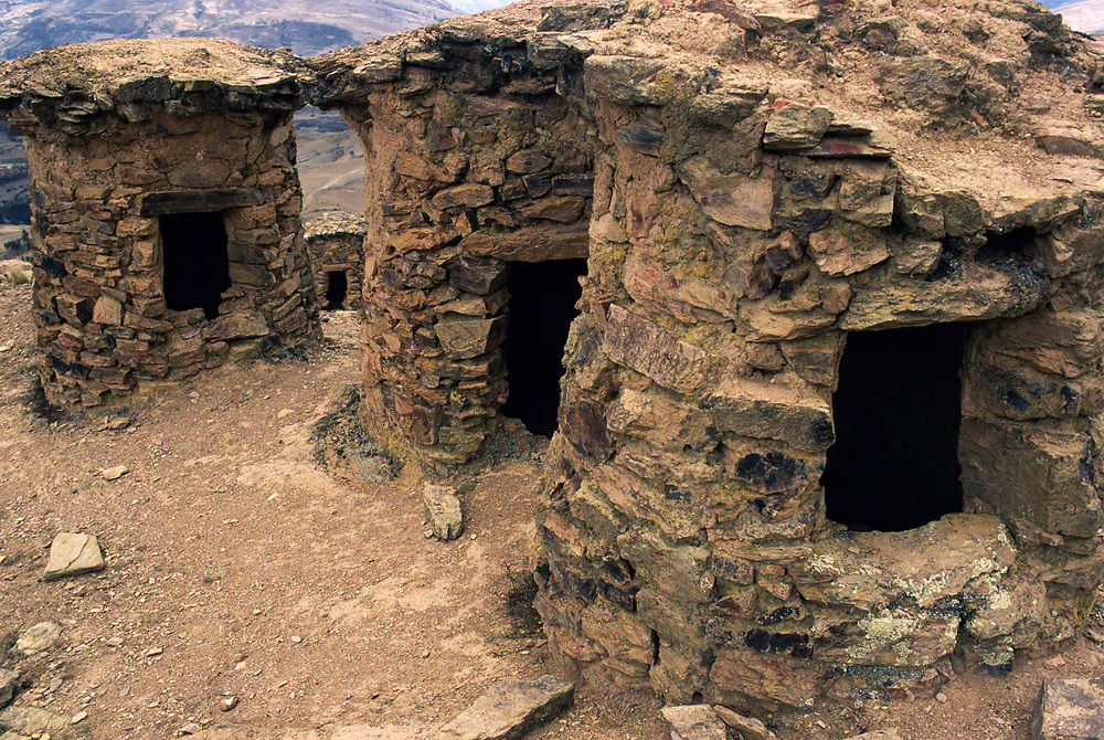 Ancient Inca 'Chullpas' or Burial Towers<br />nw of Paucartambo<br />Andes. PERU  South America