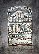 Ancient Egyptian stele dedicated by high priest Padiamenemipet to Ra-Harakhty, limestone, Late Period, 26th Dynasty, (580-520 BC), Deir el-Medina, Cat 1574. Egyptian Museum, Turin. white background, <br /> <br /> the round topped stele is dedicated by high priest Padiamenemipet to Ra-Harakht, Isis and the 4 sons of Horus. It was gifted by the Cairo Museum.