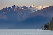 Osprey Mountain (Garibaldi Ranges) towers over Pitt Lake at Grant Narrows. Photographed from the Katzie Loop trail in Pitt Meadows, British Columbia, Canada
