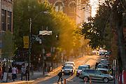 Sunset over Patton Avenue in Asheville, North Carolina.