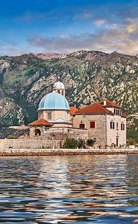Pictures images and photos of Our Lady of the Rocks Island and church and its church which was renovated in 1722. The church contains 68 paintings by Tripo Kokolja, a famous 17th-century baroque artist from Perast. His most important painting, ten meters long, is The Death of the Virgin. Our Lady of the Rocks is one of the two islets off the coast of Perast in the Bay of Kotor, Montenegro.  It is an artificial island created by bulwark of rocks and by sinking old and seized ships loaded with rocks. According to legend, the islet was made over the centuries by local seamen who kept an ancient oath after finding the icon of Madonna and Child on the rock in the sea. Kotor Bay Montenegro.