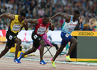 Athletics - 2017 IAAF London World Athletics Championships - Day One<br /> <br /> Event: Men's 100 Metres Qualifying <br /> <br /> Prescod  (GBR) of his blocks leads the field away <br /> <br /> <br /> COLORSPORT/DANIEL BEARHAM