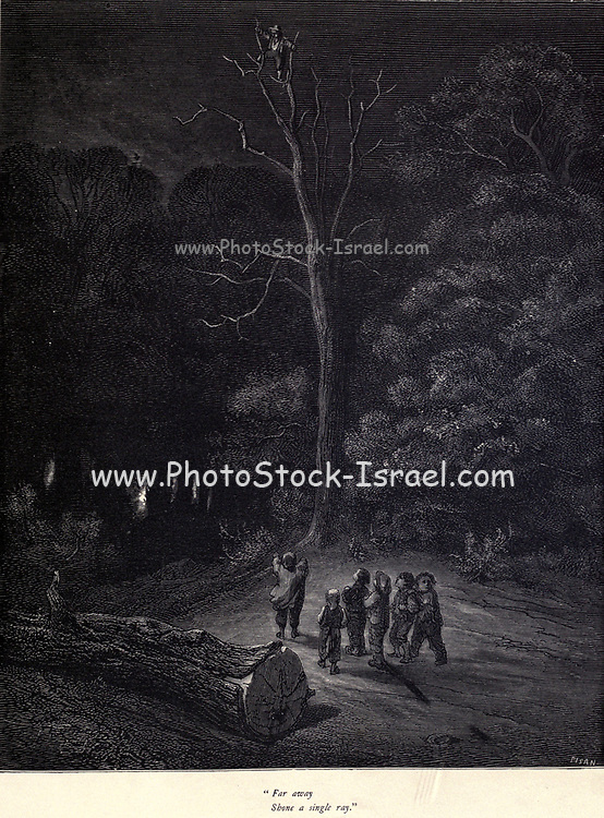 """""""Far away Shone a single ray."""" Illustration from 'Hop O' My Thumb' by Paul Gustave Dore. [The Children are left alone in the deep dark forest] Hop-o'-My-Thumb (Hop-on-My-Thumb), or Hop o' My Thumb, also known as Little Thumbling, Little Thumb, or Little Poucet is one of the eight fairytales published by Charles Perrault in Histoires ou Contes du temps passé (1697), Where the small boy defeats the ogre. Illustration by Gustave Dore from the book Fairy realm. A collection of the favourite old tales. Illustrated by the pencil of Gustave Dore by Tom Hood, (1835-1874); Gustave Doré, (1832-1883) Published in London by Ward, Lock and Tyler in 1866"""