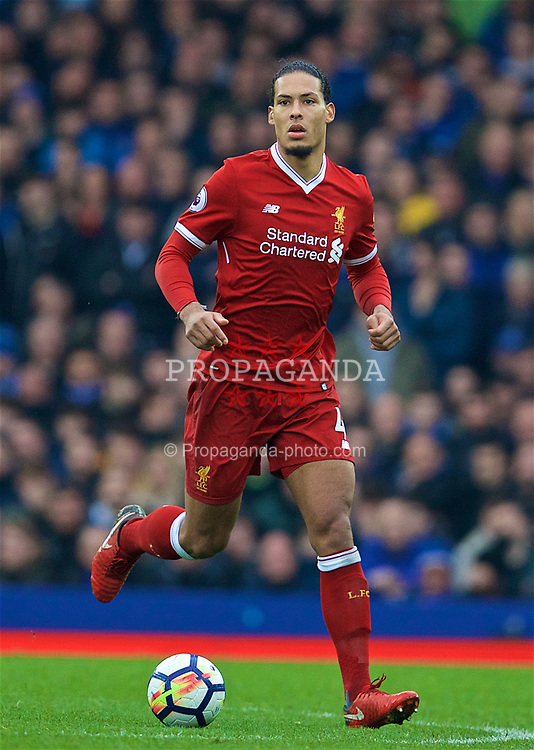 LIVERPOOL, ENGLAND - Saturday, April 7, 2018: Liverpool's Virgil van Dijk during the FA Premier League match between Everton and Liverpool, the 231st Merseyside Derby, at Goodison Park. (Pic by David Rawcliffe/Propaganda)