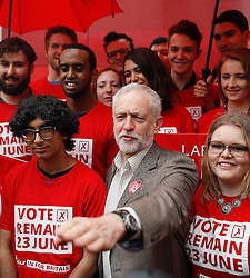 © Licensed to London News Pictures. 10/05/2016. London, UK. Labour Party leader JEREMY CORBYN poses with young campaigners during the official unveiling of the new Labour In For Britain campaign bus. Alan Johnson, Chairman of 'Labour In for Britain', Labour deputy Tom Watson and Gloria De Piero, Shadow Minister for Young People and Voter Registration, also attended. Photo credit: Peter Macdiarmid/LNP