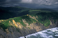 Aerial of sunlight on coastal cliffs along the northern portion of the Lost Coast Humboldt County, CALIFORNIA