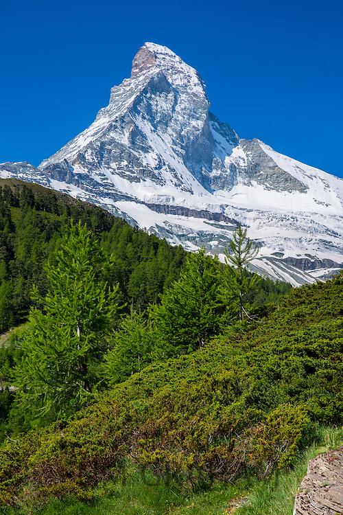 Walking trail below the Matterhorn mountain in the Swiss Alps near Zermatt, Switzerland