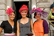 Lisa Sweeney, Mulligar, Caroline Egan from Corofin Co. Clare and Tara Mulleray from Cavan  at Hotel Meyrick in Eyre Sq. Galway for their best dressed Lady Competition during Galway's Race week . Photo:Andrew Downes