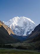 View of Salkantay mountain from Soraypampa, Peru.